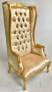 PORTERS CHAIR HIGH BACK WITH GOLD LEAF FRAME AND PALE GOLD BARLEY CRUSHED VELVET