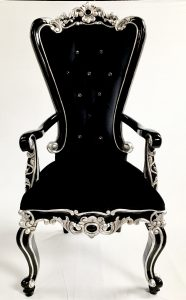 A 1 BLACK MAYFAIR CARVER DINING THRONE BLACK AND SILVER BAROQUE WITH CRYSTAL BUTTONS