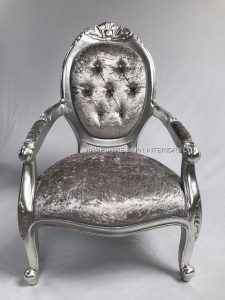 CHATSWORTH CHAIR IN SILVER LEAF AND MERCUSRY CRUSHED VELVET WITH CRYSTAL BUTTONS