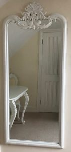 CHATEAU LARGE DRESSING MIRROR ANTIQUE WHITE BEVELLED MIRROR