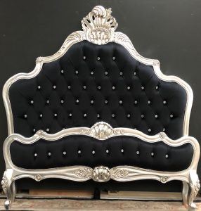 A CANNES FRENCH STYLE ORNATE BED IN SILVER LEAF WITH BLACK VELVET AND CRYSTAL BUTTONS