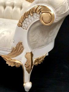 11 Beautiful Chaise White & Gold Frame with Ivory Cream Damask  Fabric Medium Size