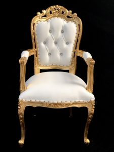 A A 1 Franciscan Wedding or dining chair GOLD LEAF with white faux leather with crystal buttons