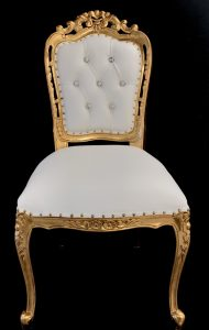 A A 1 Franciscan Wedding or dining chair GOLD LEAF with white faux leather with crystal buttons without arms