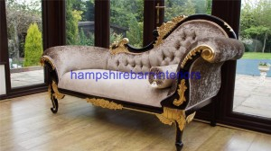 3 Ornate medium sized chaise longue mahogany frame with gold detailing with mink crushed velvet upholstery