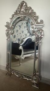 silver leaf pediment mirror