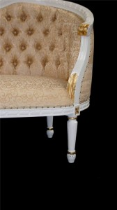L'Amour French Chaise white & gold frame with gold fabric3
