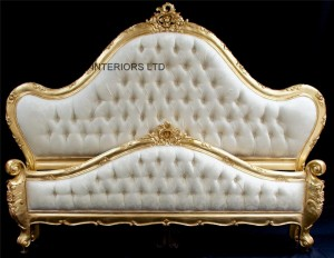 charles ornate gold leaf bed with ivory upholstery