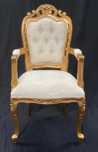 wedding dining chair with arms gold leaf with ivory cream damask fabric