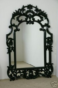 Large Black Beauty Finely Carrved Mirror