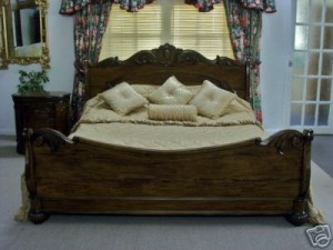 French Style Solid Sleigh Bed