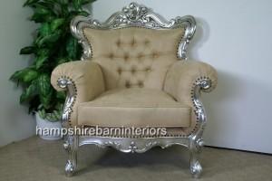 Silver Leaf Ornate Arm Chair