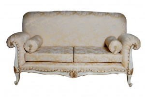 Florence Sofa in White and Gold