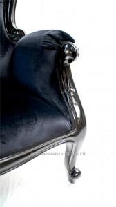 BLACK BEAUTY ARM CHAIR IN BLACK GLOSS BLACK VELVET