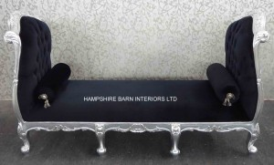 The Angel Chaise Longue in Silver Leaf and Black Fabric