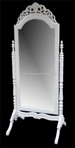 A French Chateau Style Ornate Cheval Dressing Long Mirror in Antique White