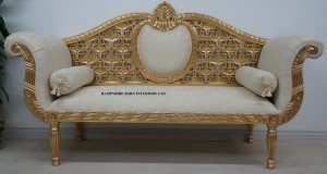 PRINCESS ROYAL WEDDING SOFA Ornate Gold and Cream fabric