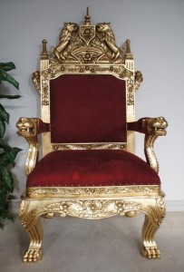 Throne Chair Red Velvet and Gold Leaf