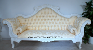 Antique White Ornate Wedding Sofa…now with DIAMOND CRYSTAL BUTTONS