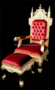 HUGE TUDOR THRONE CHAIR IN GOLD LEAF AND RED VELVET WITH CRYSTAL BUTTONS.4