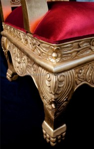HUGE TUDOR THRONE CHAIR IN GOLD LEAF AND RED VELVET WITH CRYSTAL BUTTONS.jpg1