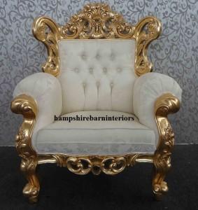 ornate gold leaf arm chair Itallian style