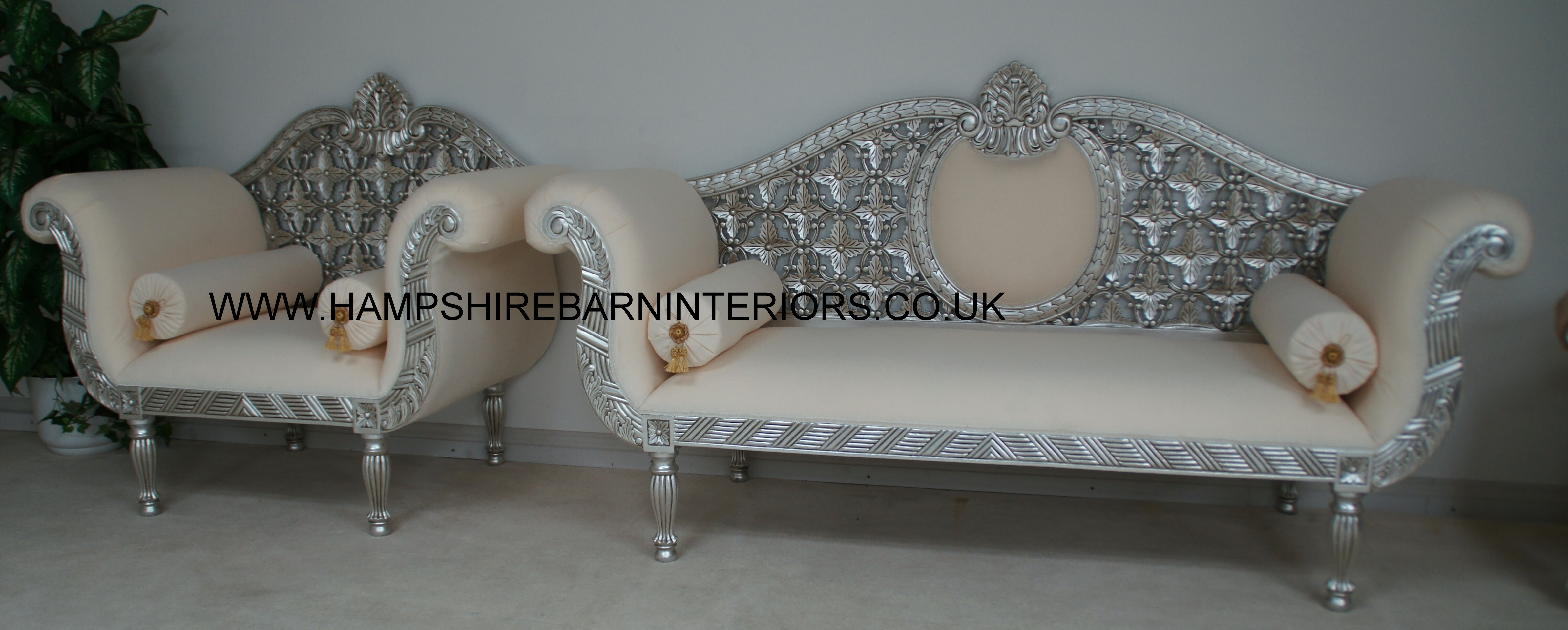 A ROYAL WEDDING SET SOFA PLUS TWO CHAIRS IN SILVER LEAF IN