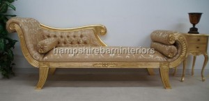 Knightsbridge Chaise Longue Ornate Gold Leaf