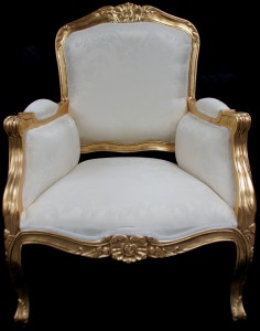 GOLD AND IVORY GOLD LEAF ARM CHAIR WING BACK