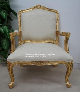large french louis chair gold leaf ivory cream fabric