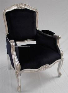 back louis french chair silver and black velvet