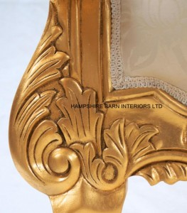3LARGE GOLD THRONE WITH IVORY CREAM FABRIC AND CRYSTAL BUTTONS