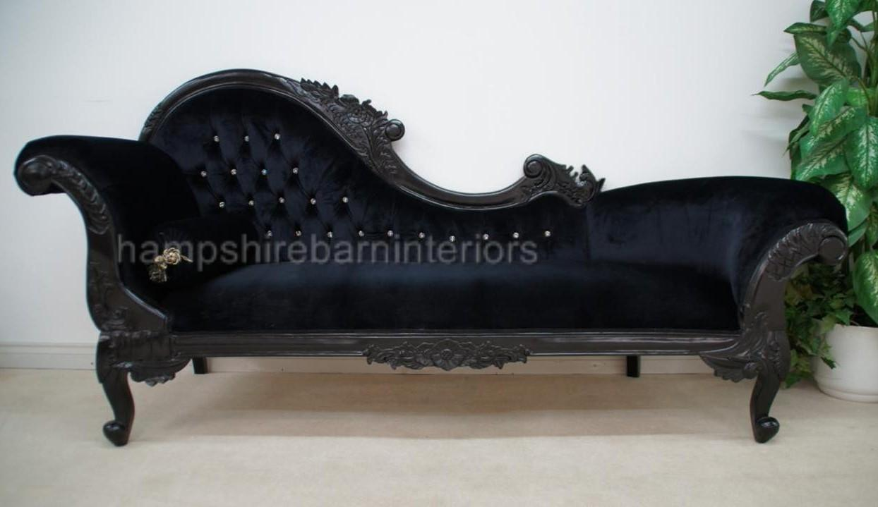 Black sofa chaise longue for Black and silver chaise longue