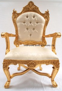 LARGE GOLD THRONE WITH IVORY CREAM FABRIC AND CRYSTAL BUTTONS