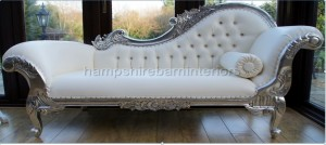 RIGHT HAND LARGE SILVER AND WHITE FAUX LEATHER CHAISE LONGUE