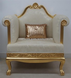 Aa 1 wedding stage set ornate gold and cream CHAIR