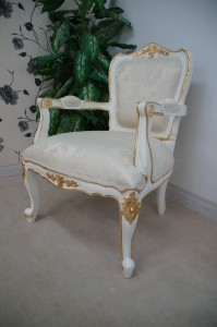 Large French Chair in French White painted finish with gold