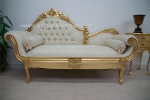 Amberley Chaise Longue Medium Size Ornate Gold leaf with cream fabric