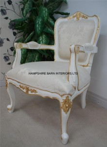 Large French Chair in French White painted finish with gold detailing and ivory fabric