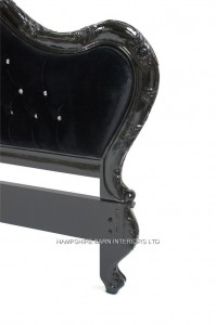 A Charles French Louis Style Bed In Gloss Black and upholstered in black velvet with CRYSTAL buttoning