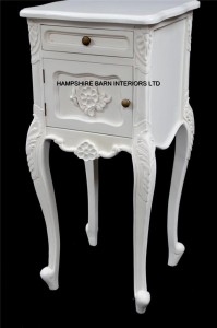 French Chateau Style Louis Ornate Side Cabinet Bed Lamp Table Antique White cupboard and 1 drawer
