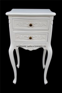 chateau white franch painted 2 drawer bedside table cabinet