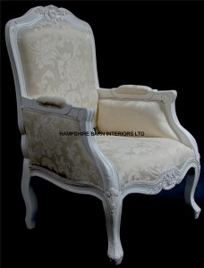 French Chateau Style Ornate Arm Chair Bedroom Antique White Boudoir Shop Lounge
