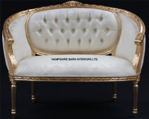 A Double-Ended-Gold-Ivory-French-Louis-Ornate-Chaise-Longue-Sofa-Home-Salon