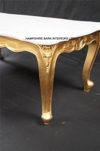 ORNATE FRENCH LOUIS STYLE GOLD LEAF COFFEE TABLE W WHITE MARBLE TOP.1