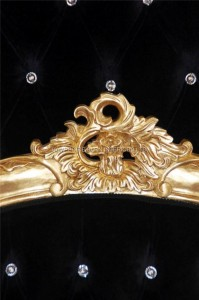A Charles French Louis Style Bed In Gold Leaf and upholstered in a black velvet fabric with crystals4