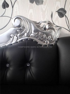 Large Silver Hampshire Chaise with silve leaf frame and black faux leather with crystals.3