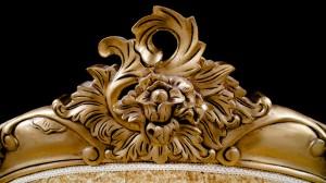 French Charles Gold Leaf Bed Super King 6 FT Champagne Crushed Velvet Ornate