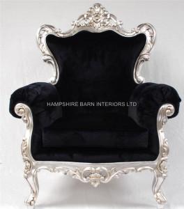 Large-ornate-black-rococo-arm-chair-silver-black-velvet