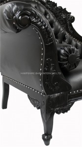 large ornate french chaise longue black painted black faux leather 4